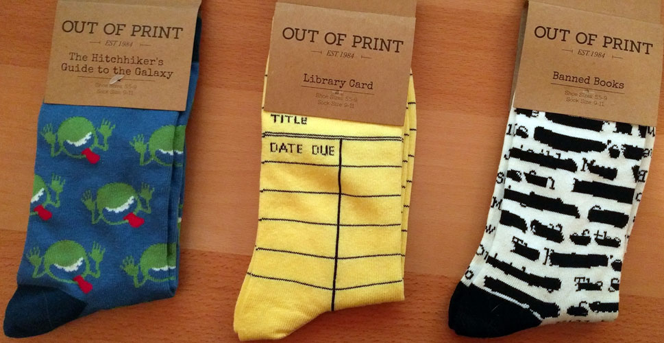 Short socks - Hitchhiker's Guide, Due date slip, and banned books